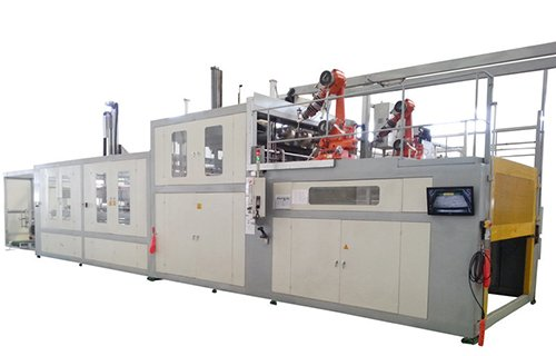 Automotive interior parts thermoforming trimming all in one production line