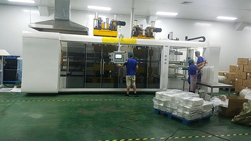 Vacuum forming machine producing department